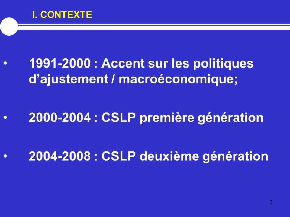 3 I. CONTEXTE 1991-2000 : Accent sur les politiques d'ajustement / macroéconomique; 2000-2004 : CSLP première génération 2004-2008 : CSLP deuxième gén