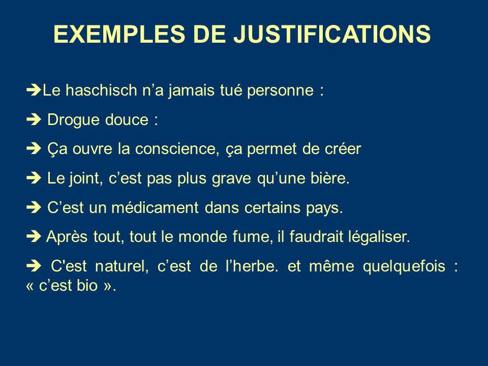 EXEMPLES DE JUSTIFICATIONS  Le haschisch n'a jamais tué personne :  Drogue douce :  Ça ouvre la conscience, ça permet de créer  Le joint, c'est pa