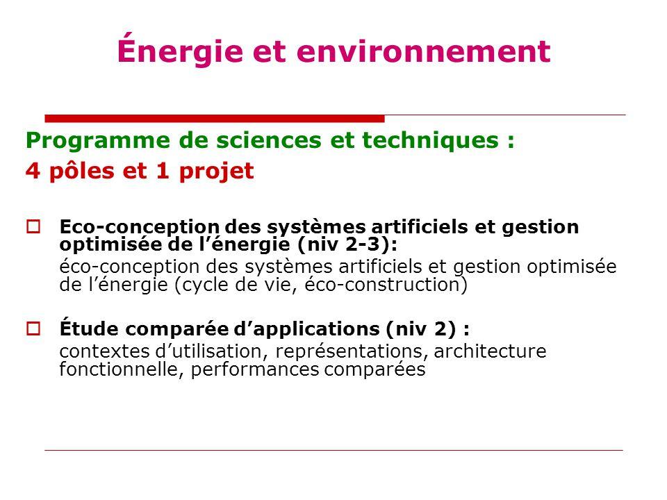 Programme de sciences et techniques : 4 pôles et 1 projet  Eco-conception des systèmes artificiels et gestion optimisée de l'énergie (niv 2-3): éco-conception des systèmes artificiels et gestion optimisée de l'énergie (cycle de vie, éco-construction)  Étude comparée d'applications (niv 2) : contextes d'utilisation, représentations, architecture fonctionnelle, performances comparées