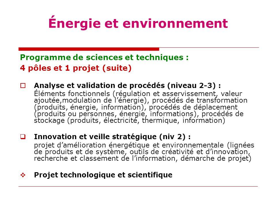 Énergie et environnement Programme de sciences et techniques : 4 pôles et 1 projet (suite)  Analyse et validation de procédés (niveau 2-3) : Éléments fonctionnels (régulation et asservissement, valeur ajoutée,modulation de l'énergie), procédés de transformation (produits, énergie, information), procédés de déplacement (produits ou personnes, énergie, informations), procédés de stockage (produits, électricité, thermique, information)  Innovation et veille stratégique (niv 2) : projet d'amélioration énergétique et environnementale (lignées de produits et de système, outils de créativité et d'innovation, recherche et classement de l'information, démarche de projet)  Projet technologique et scientifique