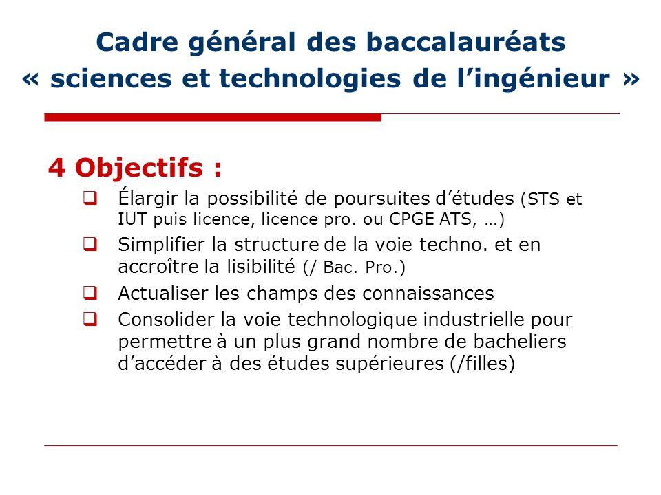 Cadre général des baccalauréats « sciences et technologies de l'ingénieur » 4 Objectifs :  Élargir la possibilité de poursuites d'études (STS et IUT puis licence, licence pro.