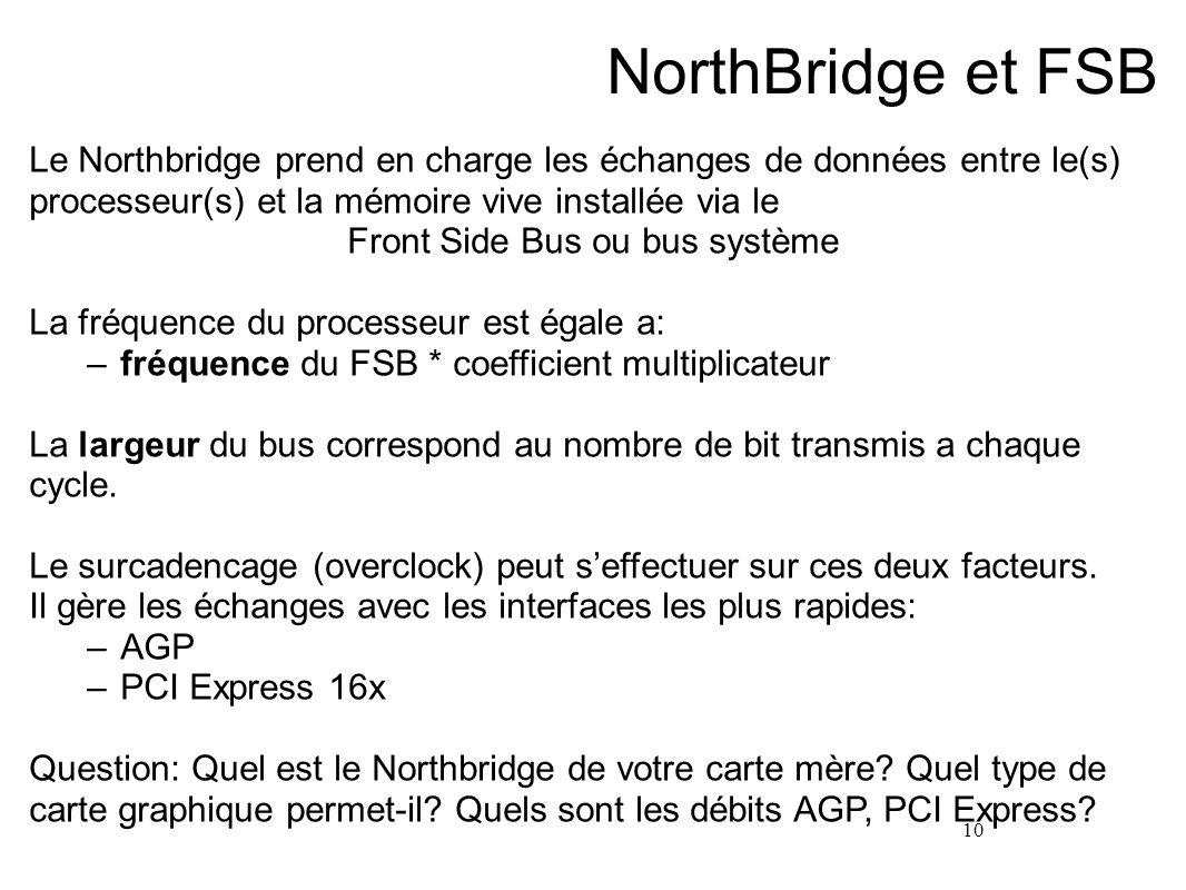 10 NorthBridge et FSB Le Northbridge prend en charge les échanges de données entre le(s) processeur(s) et la mémoire vive installée via le Front Side