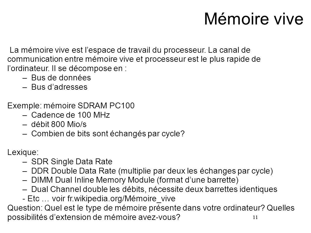 11 Mémoire vive La mémoire vive est l'espace de travail du processeur. La canal de communication entre mémoire vive et processeur est le plus rapide d