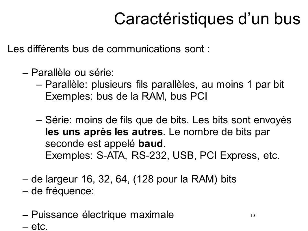 13 Caractéristiques d'un bus Les différents bus de communications sont : –Parallèle ou série: –Parallèle: plusieurs fils parallèles, au moins 1 par bi
