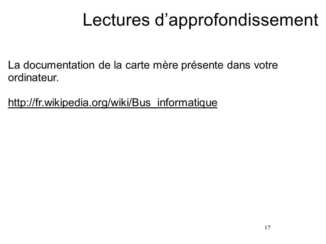17 Lectures d'approfondissement La documentation de la carte mère présente dans votre ordinateur. http://fr.wikipedia.org/wiki/Bus_informatique 17