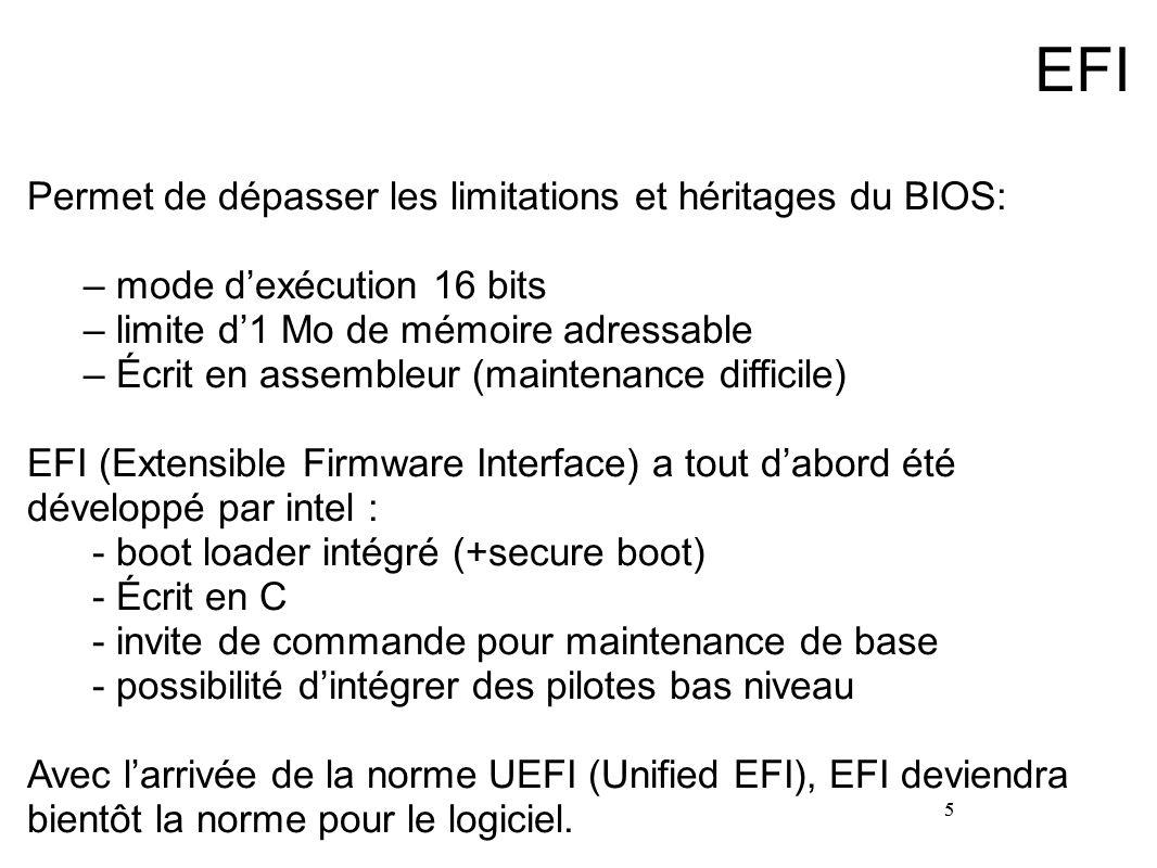5 EFI Permet de dépasser les limitations et héritages du BIOS: –mode d'exécution 16 bits –limite d'1 Mo de mémoire adressable –Écrit en assembleur (ma