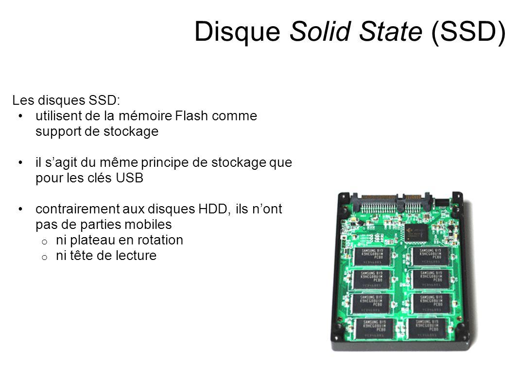 Disque Solid State (SSD) Les disques SSD: utilisent de la mémoire Flash comme support de stockage il s'agit du même principe de stockage que pour les clés USB contrairement aux disques HDD, ils n'ont pas de parties mobiles o ni plateau en rotation o ni tête de lecture