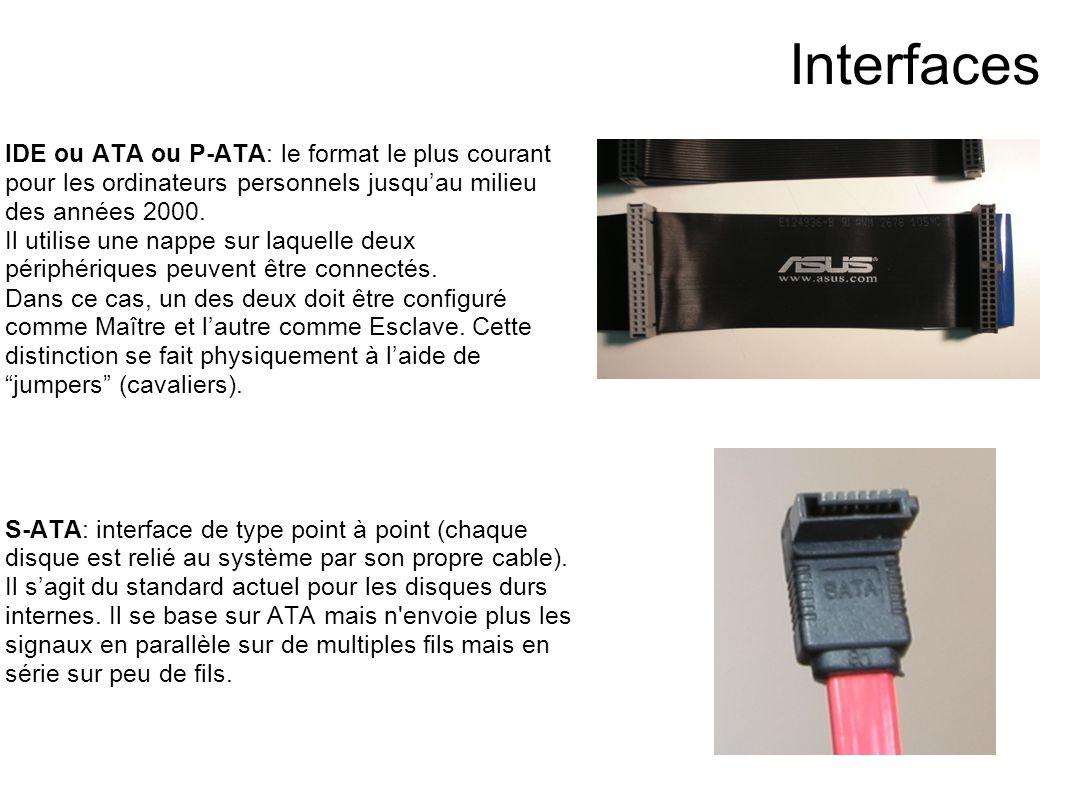 Interfaces IDE ou ATA ou P-ATA: le format le plus courant pour les ordinateurs personnels jusqu'au milieu des années 2000.