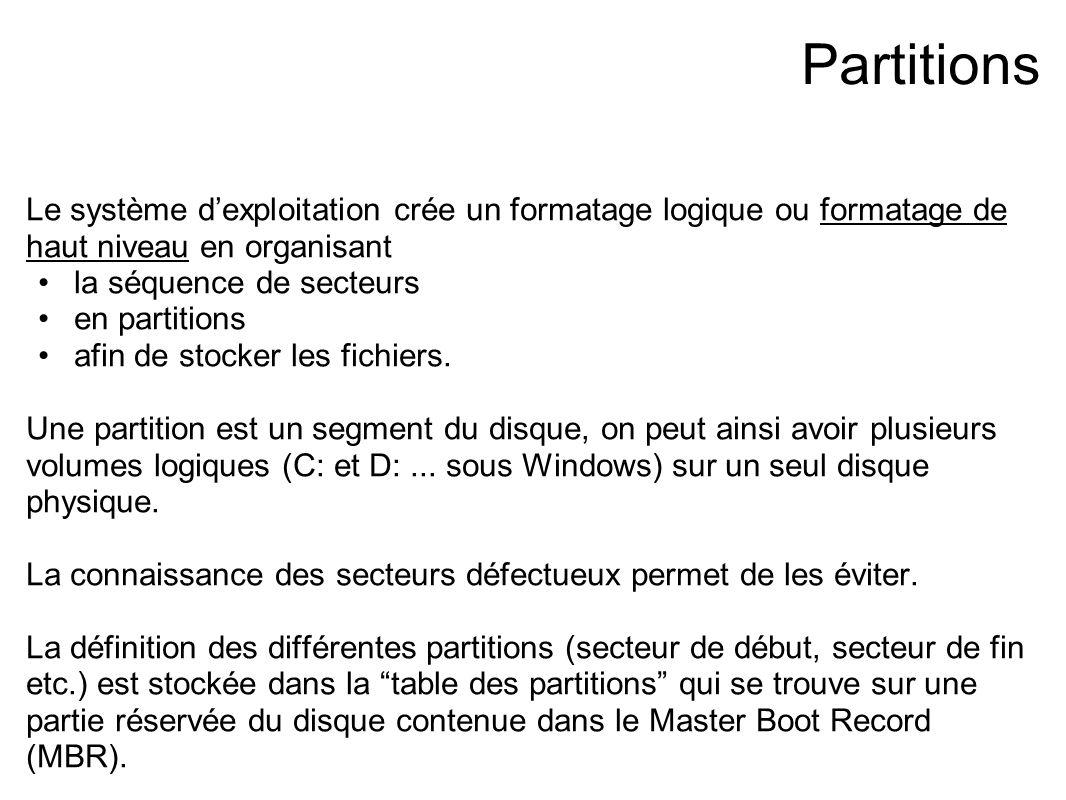 Partitions Le système d'exploitation crée un formatage logique ou formatage de haut niveau en organisant la séquence de secteurs en partitions afin de stocker les fichiers.