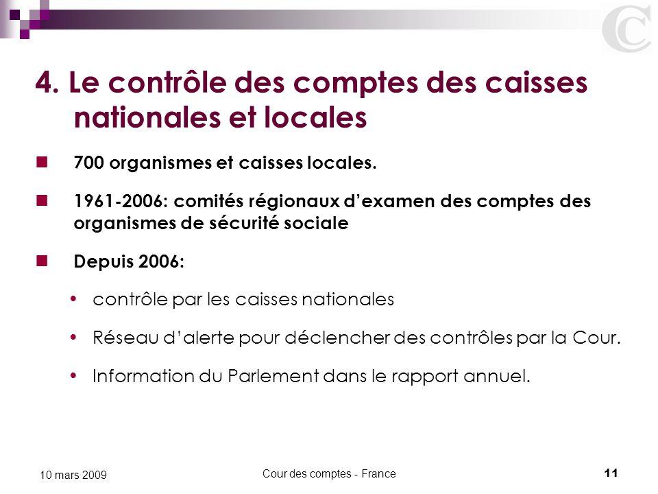 Cour des comptes - France11 10 mars 2009 4. Le contrôle des comptes des caisses nationales et locales 700 organismes et caisses locales. 1961-2006: co