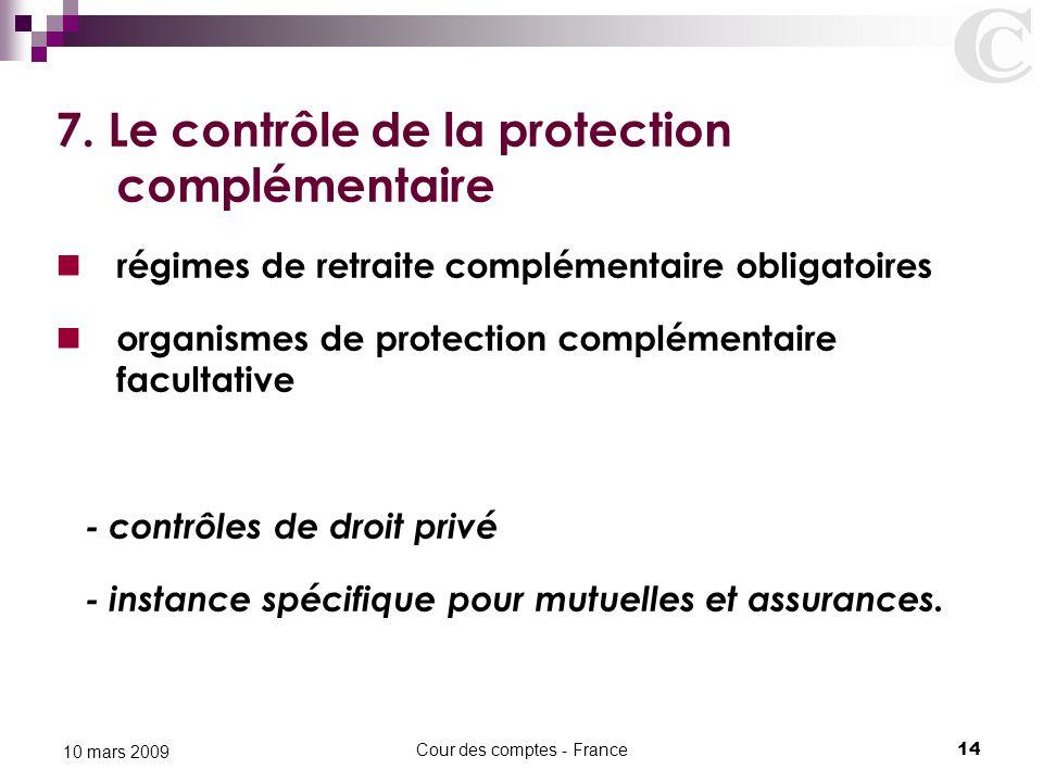 Cour des comptes - France14 10 mars 2009 7. Le contrôle de la protection complémentaire régimes de retraite complémentaire obligatoires organismes de