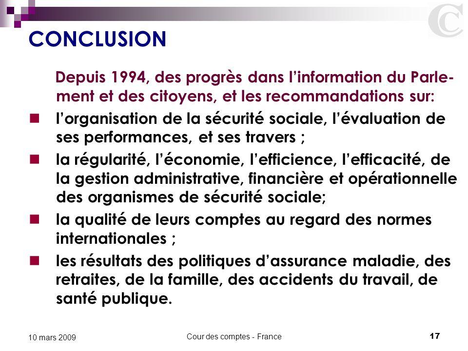Cour des comptes - France17 10 mars 2009 CONCLUSION Depuis 1994, des progrès dans l'information du Parle- ment et des citoyens, et les recommandations