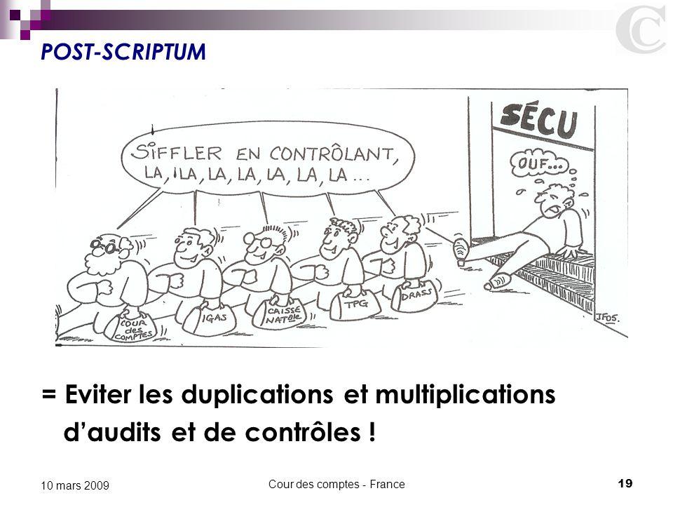 Cour des comptes - France19 10 mars 2009 POST-SCRIPTUM = Eviter les duplications et multiplications d'audits et de contrôles !
