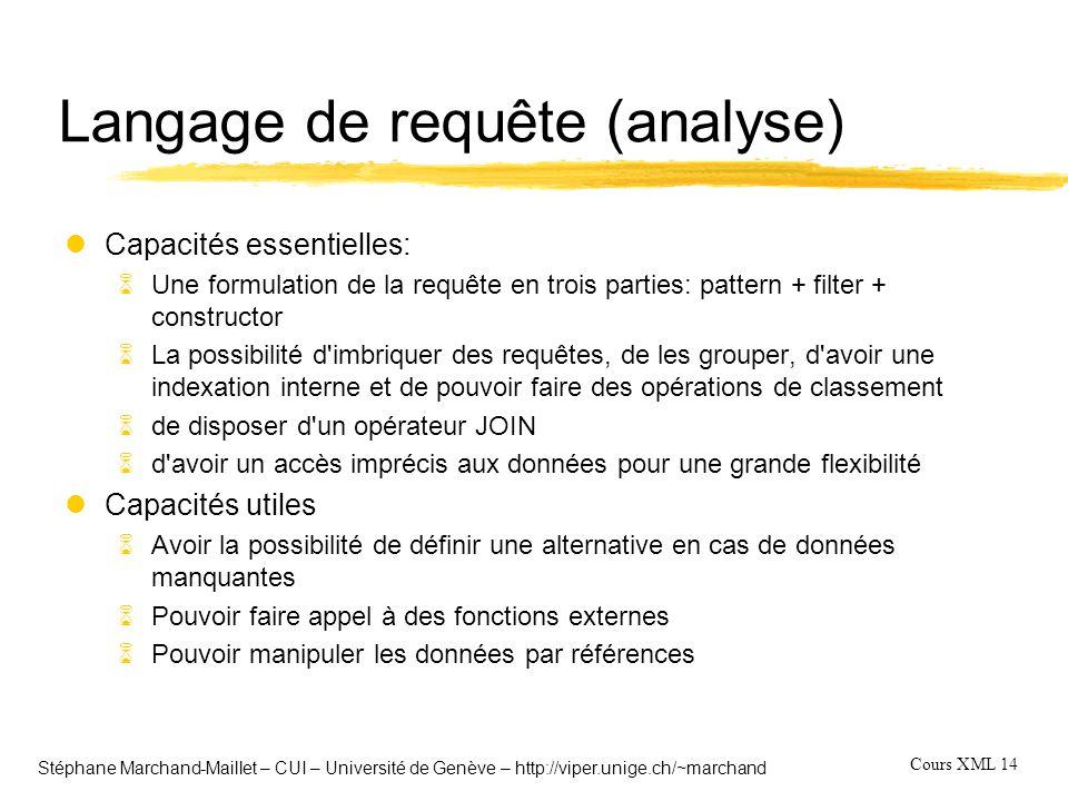 Cours XML 14 Stéphane Marchand-Maillet – CUI – Université de Genève – http://viper.unige.ch/~marchand Langage de requête (analyse) lCapacités essentie