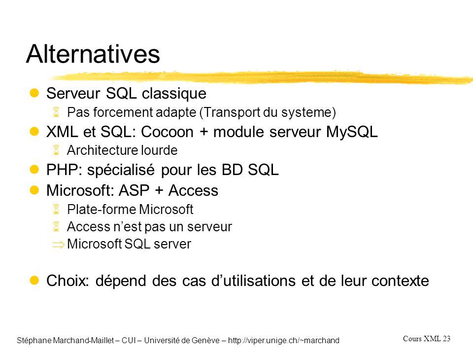 Cours XML 23 Stéphane Marchand-Maillet – CUI – Université de Genève – http://viper.unige.ch/~marchand Alternatives lServeur SQL classique 6Pas forceme
