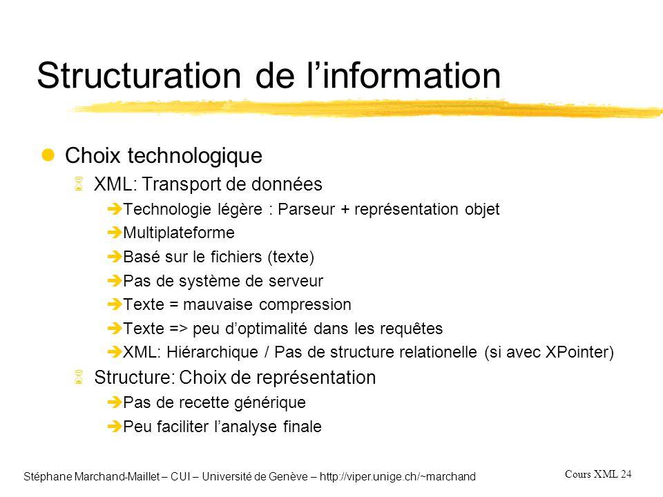 Cours XML 24 Stéphane Marchand-Maillet – CUI – Université de Genève – http://viper.unige.ch/~marchand Structuration de l'information lChoix technologi