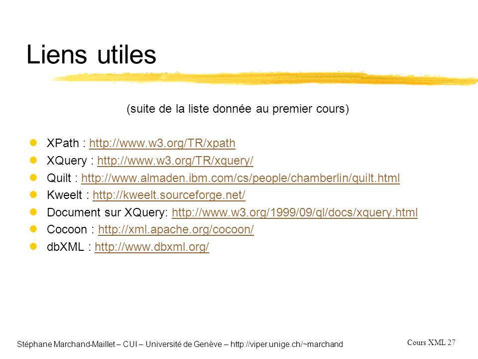 Cours XML 27 Stéphane Marchand-Maillet – CUI – Université de Genève – http://viper.unige.ch/~marchand Liens utiles (suite de la liste donnée au premie