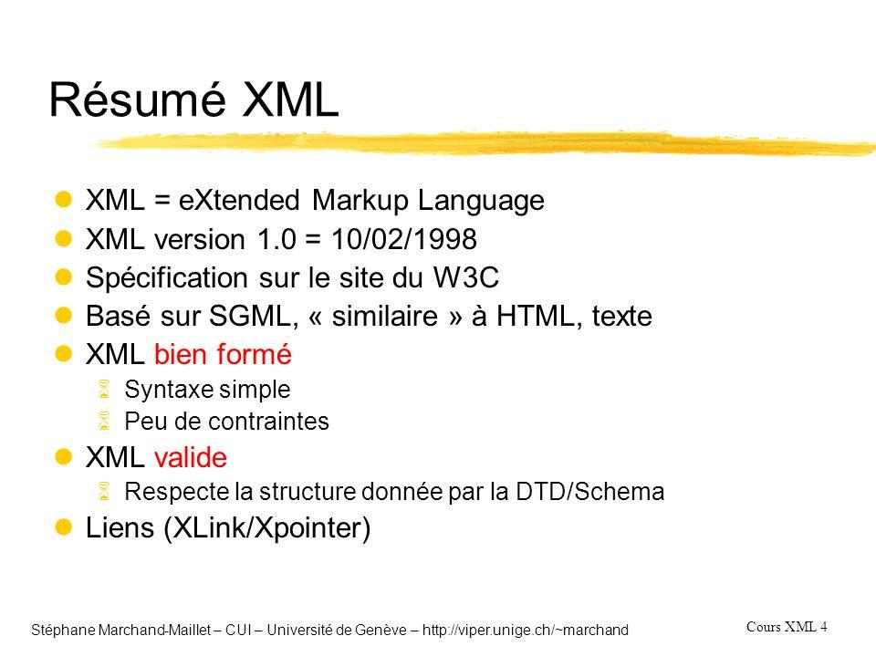 Cours XML 15 Stéphane Marchand-Maillet – CUI – Université de Genève – http://viper.unige.ch/~marchand Langage de requête (analyse) l10 Requêtes de test 6Sélection et extraction: tous les ouvrages publiés après 1991 6Flattening: l arbre XML de la base est mis à plat 6Garder la structure: afficher la base dans sa version originale 6Changer la structure par imbrication de requête: lister la base par auteur 6Changer la structure par opérateur de regroupement 6Combiner plusieurs sources de données 6Indexer les éléments de la structure: accéder au 3ème auteur d un livre 6Classer les résultats 6Avoir un accès approximatif (wildcard) sur les éléments (tags) 6Avoir un accès approximatif (wildcard) sur le contenu