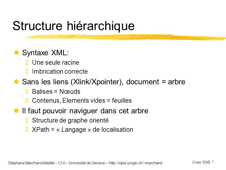 Cours XML 18 Stéphane Marchand-Maillet – CUI – Université de Genève – http://viper.unige.ch/~marchand XQuery language (2) lRequêtes sur un arbre => parcours de l'arbre 6Utilisation de XPath lOpérateurs sur les éléments 6Logiques: and or 6Arithmetiques: + - * div mod (pas « / ») 6Comparaison: > = (en fait lt, gt, eq) 6Comparaison sur les nœuds: == !== 6Ordre sur les nœuds : > lNotion de « sequences » ~ listes 6Exemples (1,2,3,4) 6Operateurs: union, intersect,except