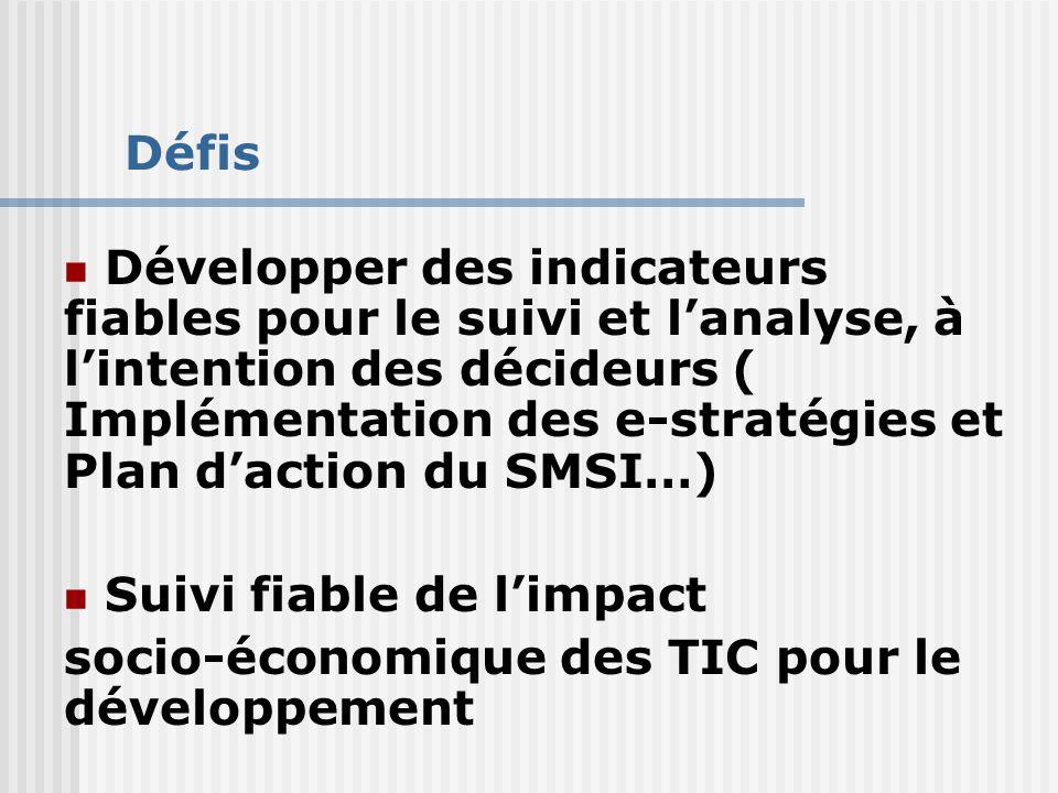 Défis Développer des indicateurs fiables pour le suivi et l'analyse, à l'intention des décideurs ( Implémentation des e-stratégies et Plan d'action du