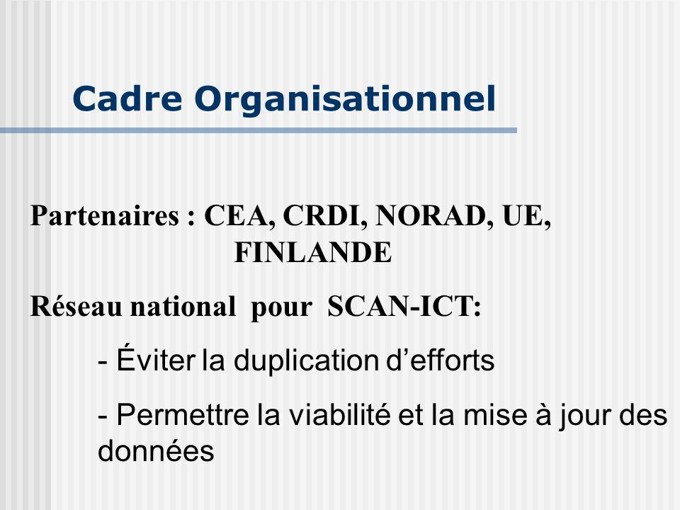 Cadre Organisationnel Partenaires : CEA, CRDI, NORAD, UE, FINLANDE Réseau national pour SCAN-ICT: - Éviter la duplication d'efforts - Permettre la viabilité et la mise à jour des données