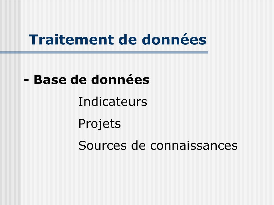 Traitement de données - Base de données Indicateurs Projets Sources de connaissances