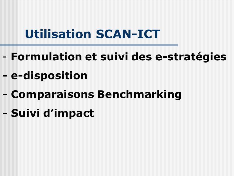 Utilisation SCAN-ICT - Formulation et suivi des e-stratégies - e-disposition - Comparaisons Benchmarking - Suivi d'impact