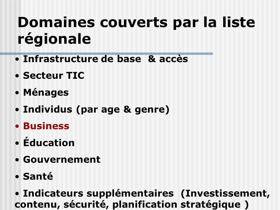 Infrastructure de base & accès Secteur TIC Ménages Individus (par age & genre) Business Éducation Gouvernement Santé Indicateurs supplémentaires (Inve