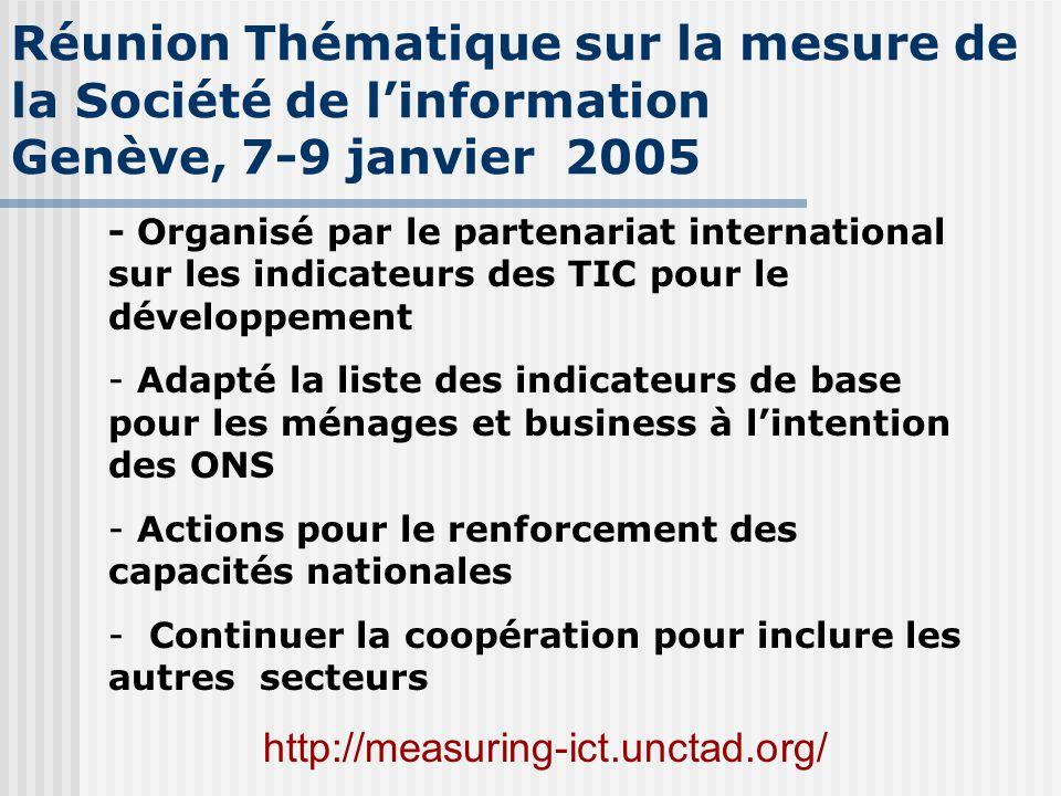 Réunion Thématique sur la mesure de la Société de l'information Genève, 7-9 janvier 2005 - Organisé par le partenariat international sur les indicateu