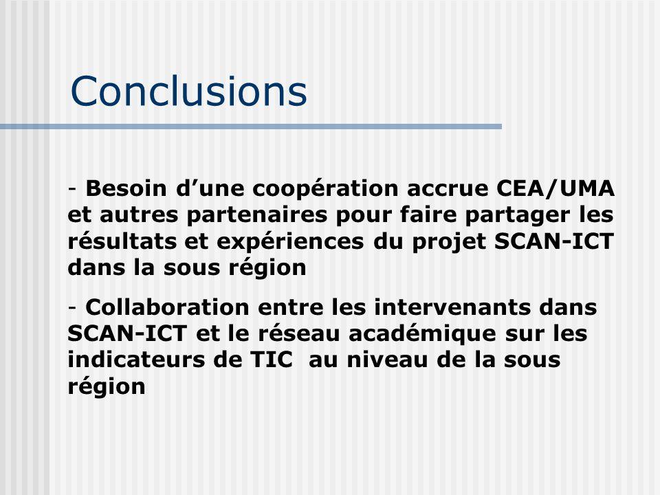 Conclusions - Besoin d'une coopération accrue CEA/UMA et autres partenaires pour faire partager les résultats et expériences du projet SCAN-ICT dans l