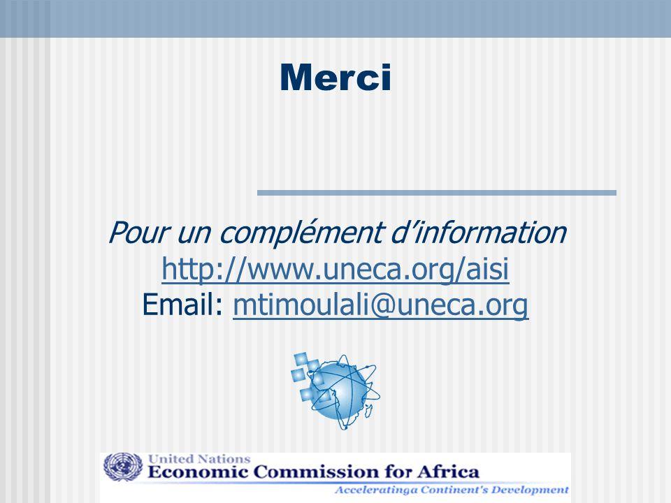 Merci Pour un complément d'information http://www.uneca.org/aisi Email: mtimoulali@uneca.orgmtimoulali@uneca.org Development Information Services Division Tel: + 251 1 51 14 08 - Fax: + 251 1 51 05 12