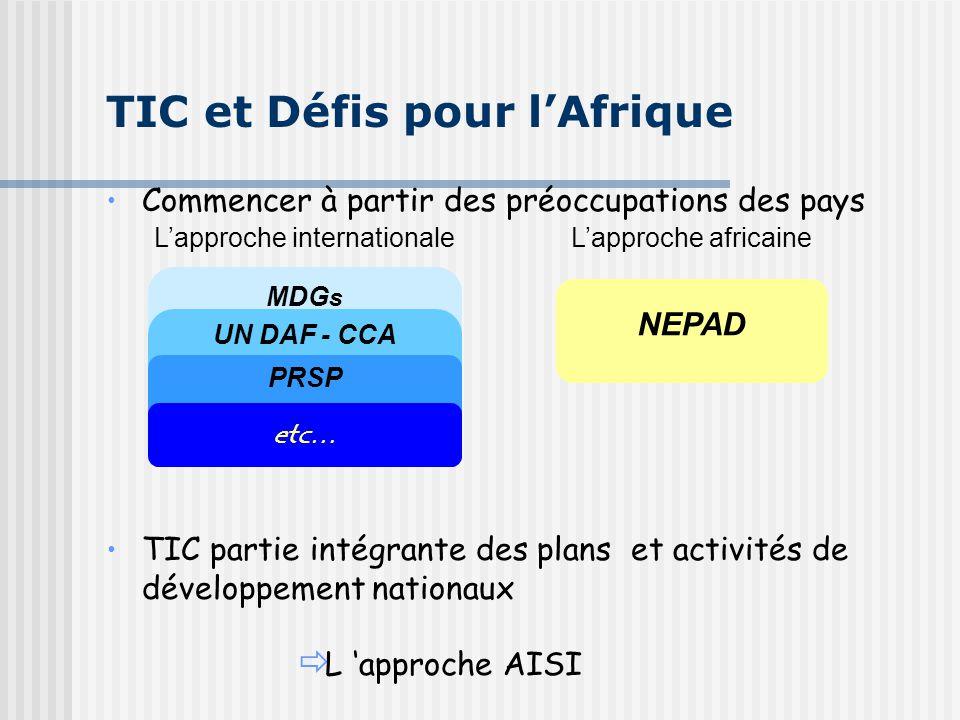 Commencer à partir des préoccupations des pays TIC partie intégrante des plans et activités de développement nationaux ð L 'approche AISI TIC et Défis