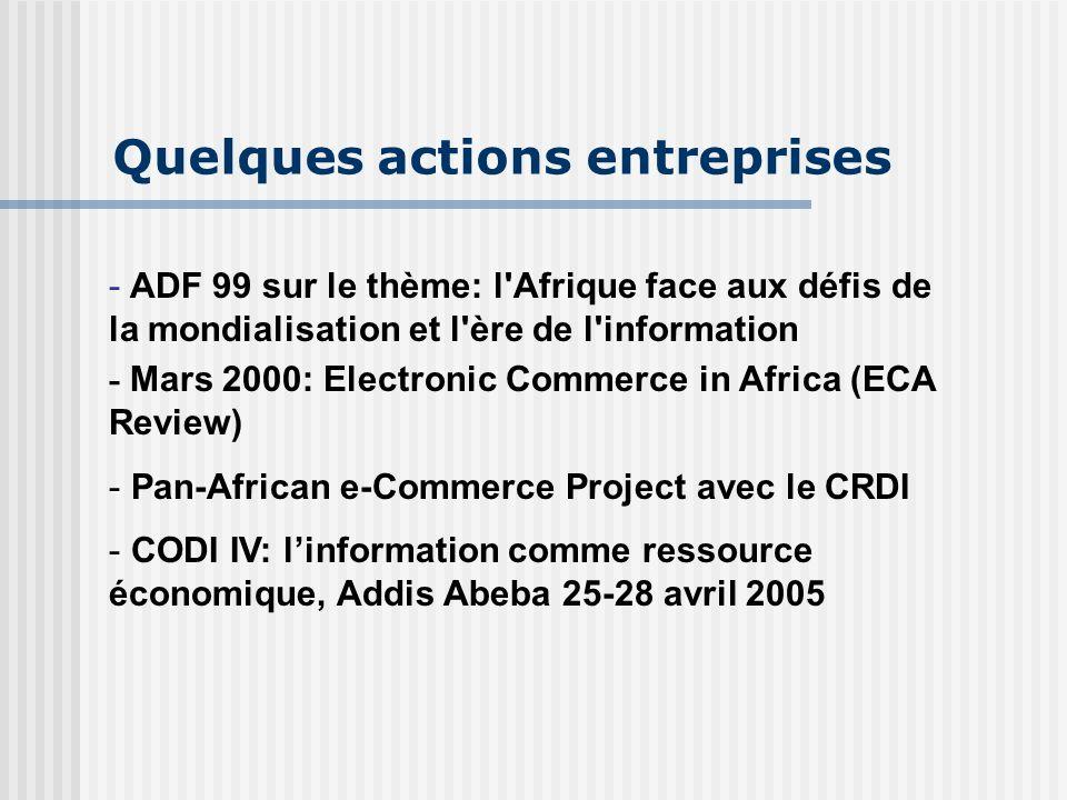 Quelques actions entreprises - ADF 99 sur le thème: l Afrique face aux défis de la mondialisation et l ère de l information - Mars 2000: Electronic Commerce in Africa (ECA Review) - - Pan-African e-Commerce Project avec le CRDI - CODI IV: l'information comme ressource économique, Addis Abeba 25-28 avril 2005