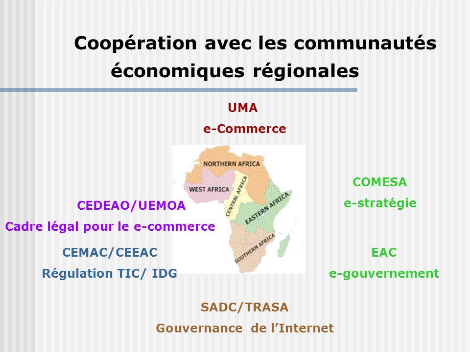 UMA e-Commerce CEDEAO/UEMOA Cadre légal pour le e-commerce COMESA e-stratégie CEMAC/CEEAC Régulation TIC/ IDG SADC/TRASA Gouvernance de l'Internet EAC