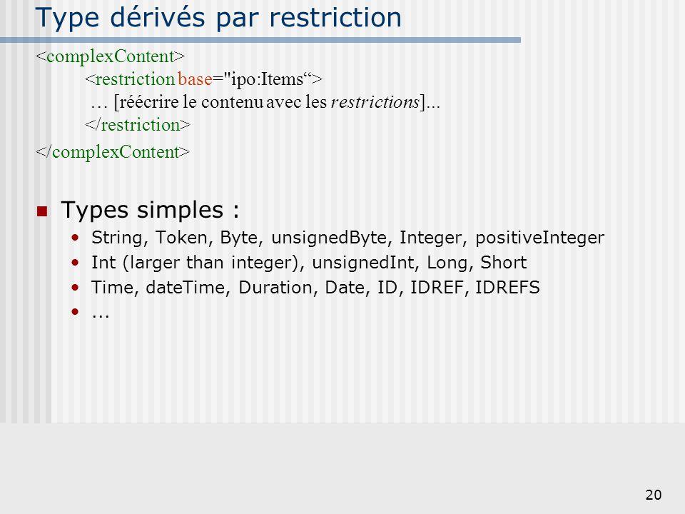 20 Type dérivés par restriction … [réécrire le contenu avec les restrictions]... Types simples : String, Token, Byte, unsignedByte, Integer, positiveI