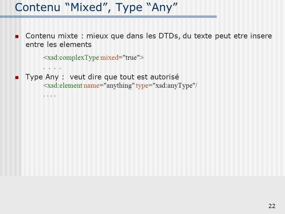 """22 Contenu """"Mixed"""", Type """"Any"""" Contenu mixte : mieux que dans les DTDs, du texte peut etre insere entre les elements.... Type Any : veut dire que tout"""
