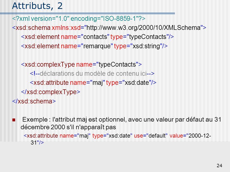 24 Attributs, 2 Exemple : l'attribut maj est optionnel, avec une valeur par défaut au 31 décembre 2000 s'il n'apparaît pas