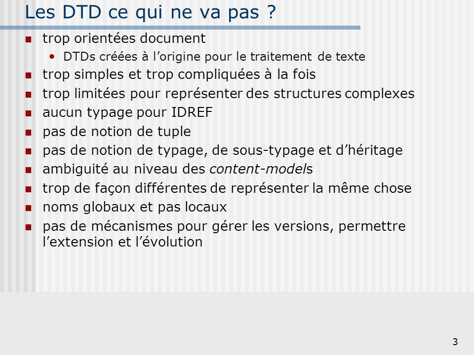 3 Les DTD ce qui ne va pas ? trop orientées document DTDs créées à l'origine pour le traitement de texte trop simples et trop compliquées à la fois tr