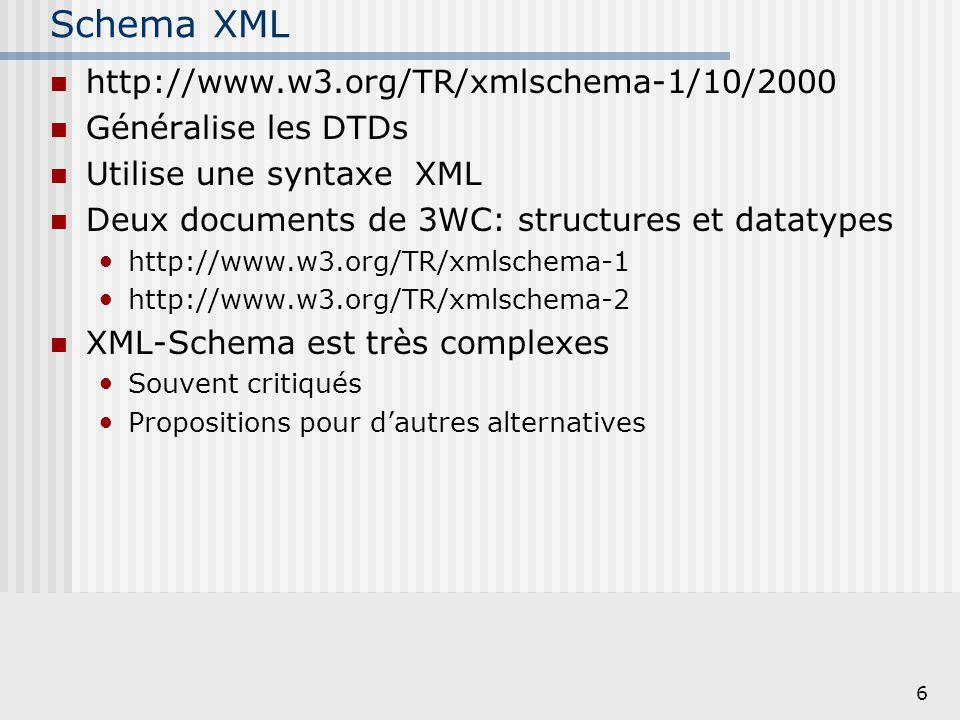 6 Schema XML http://www.w3.org/TR/xmlschema-1/10/2000 Généralise les DTDs Utilise une syntaxe XML Deux documents de 3WC: structures et datatypes http:
