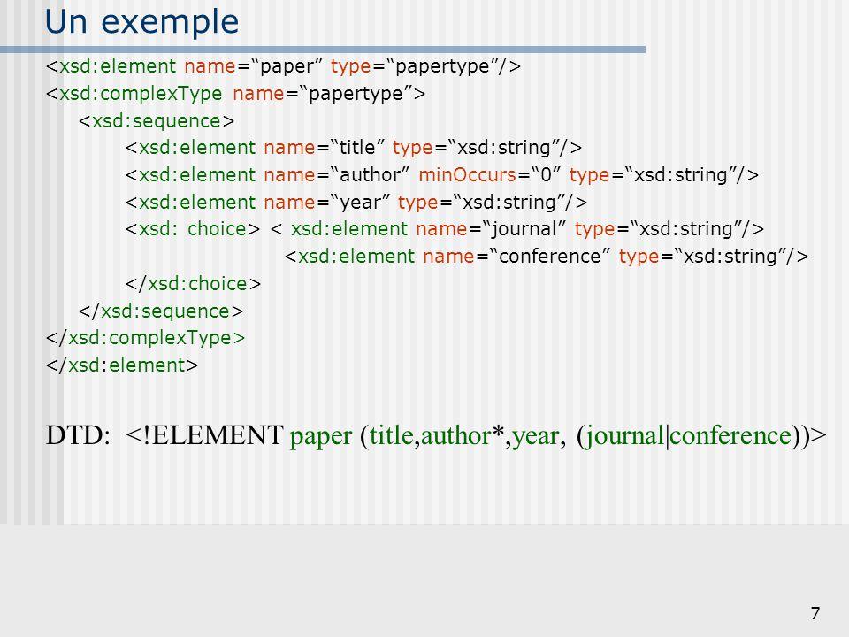 8 Elements v.s. Types DTD: