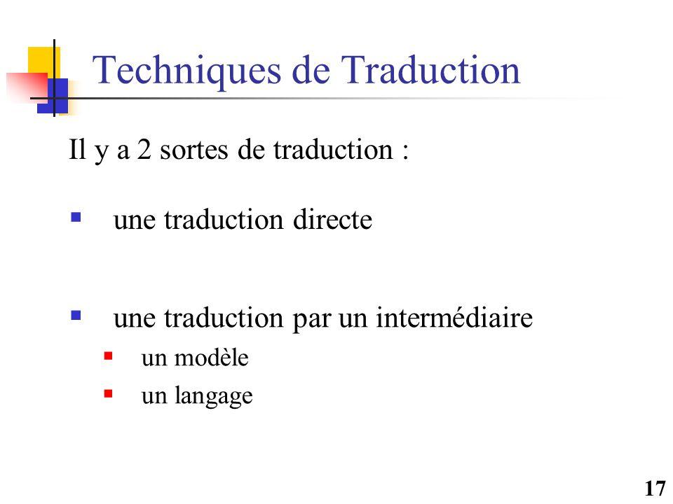 17 Techniques de Traduction  une traduction directe  une traduction par un intermédiaire  un modèle  un langage Il y a 2 sortes de traduction :