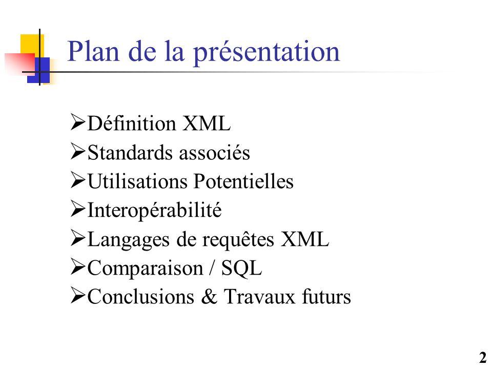 2 Plan de la présentation  Définition XML  Standards associés  Utilisations Potentielles  Interopérabilité  Langages de requêtes XML  Comparaison / SQL  Conclusions & Travaux futurs