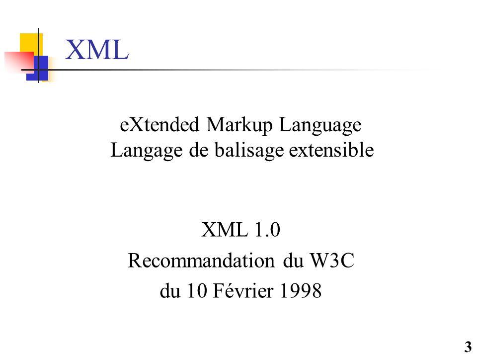 14 Plan de la présentation  Définition XML  Standards associés  Utilisations Potentielles  Interopérabilité  Langages de requêtes XML  Comparaison / SQL  Conclusions & Travaux futurs