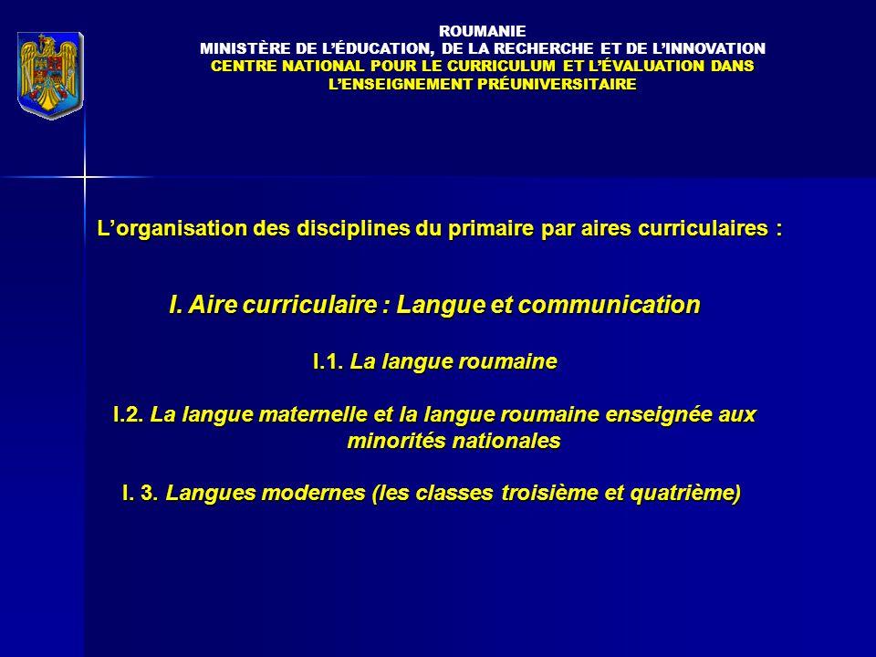 L'organisation des disciplines du primaire par aires curriculaires : I.