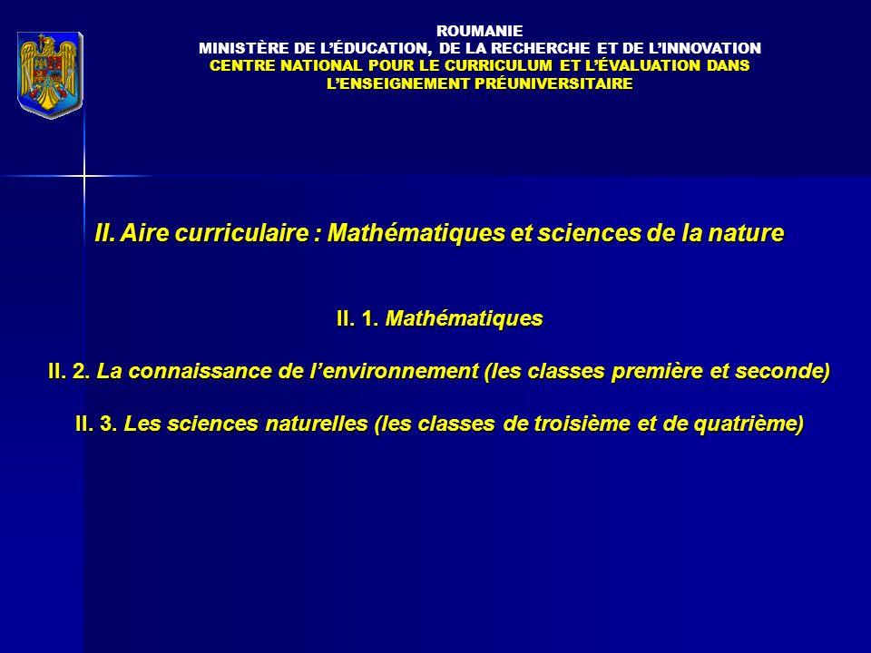 II.Aire curriculaire : Mathématiques et sciences de la nature II.