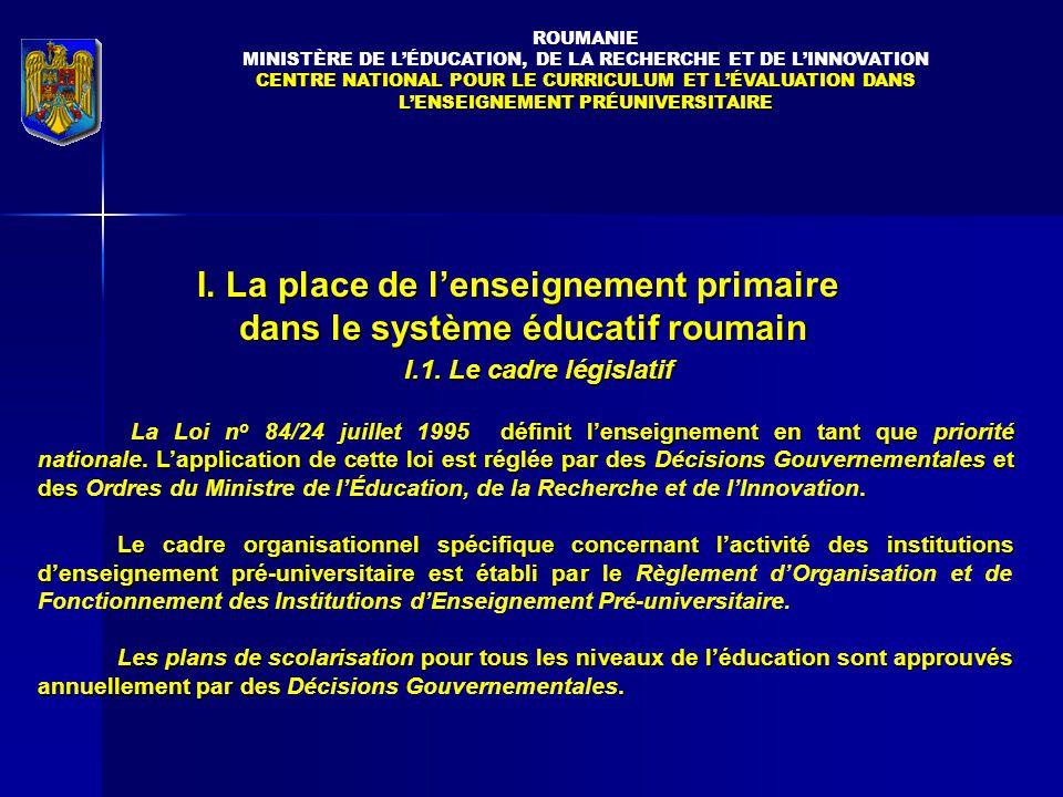I.1.Le cadre législatif définit l'enseignement en tant que priorité nationale.