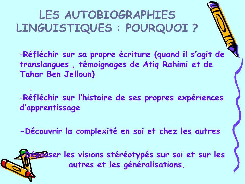 LES AUTOBIOGRAPHIES LINGUISTIQUES : POURQUOI ? - - -Réfléchir sur sa propre écriture (quand il s'agit de translangues, témoignages de Atiq Rahimi et d