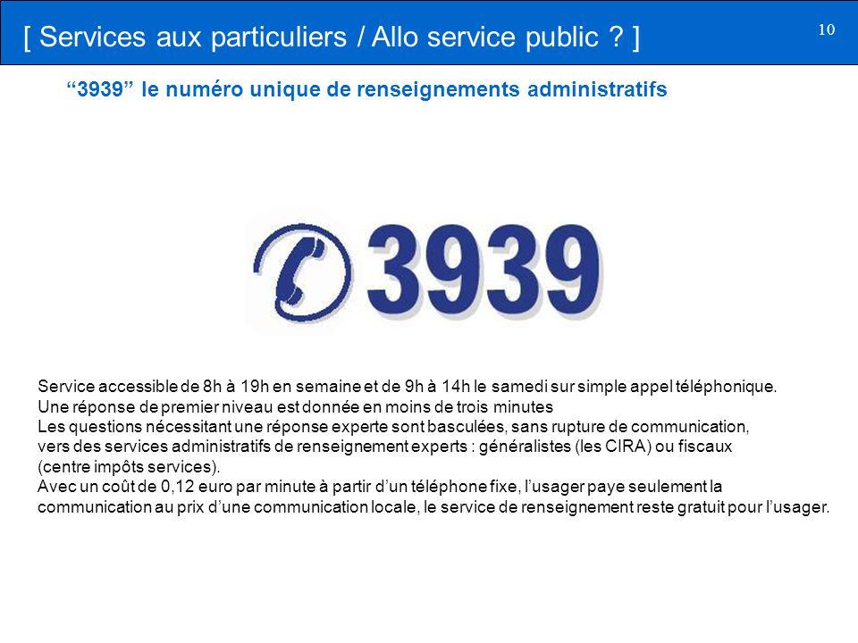 """10 [ Services aux particuliers / Allo service public ? ] """"3939"""" le numéro unique de renseignements administratifs Service accessible de 8h à 19h en se"""