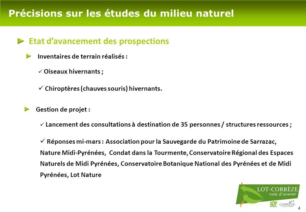 4 Précisions sur les études du milieu naturel Etat d'avancement des prospections Oiseaux hivernants ; Chiroptères (chauves souris) hivernants. Inventa