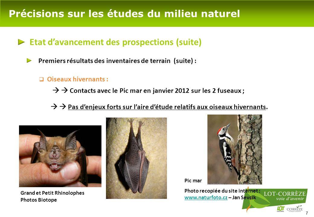 7 Précisions sur les études du milieu naturel Etat d'avancement des prospections (suite)  Oiseaux hivernants :   Contacts avec le Pic mar en janvie